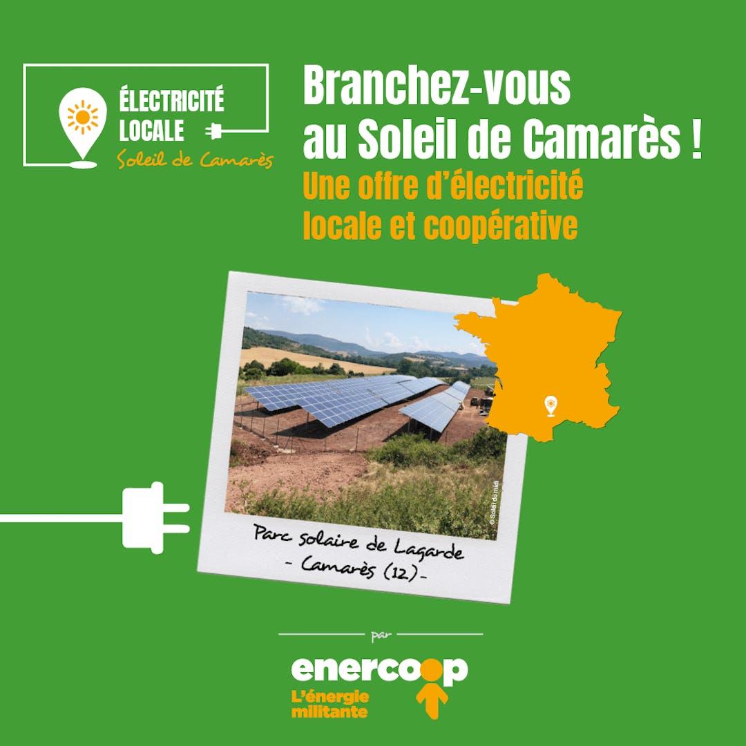 Visuel de présentation de l'offre de fourniture d'électricité au parc solaire de Camarès