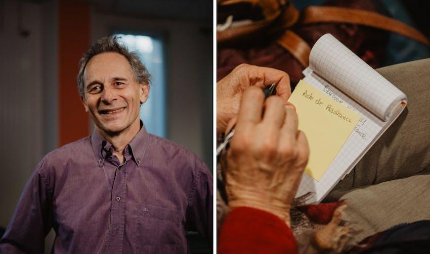 Guy Martin et une sociétaire du groupe local rochelais - crédit : Lycia Walter - Enercoop Nouvelle-Aquitaine