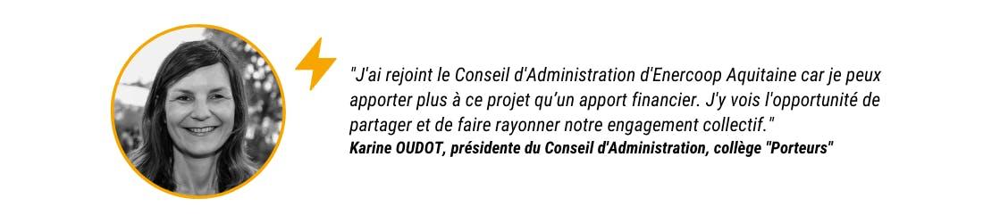 Karine Oudot, présidente du Conseil d'Administration d'Enercoop Nouvelle-Aquitaine