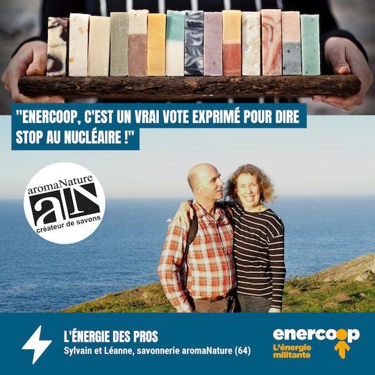 Témoignage du couple de fondateurs d'Aromanature, savonnerie du béarn cliente d'Enercoop - Enercoop Nouvelle-Aquitaine