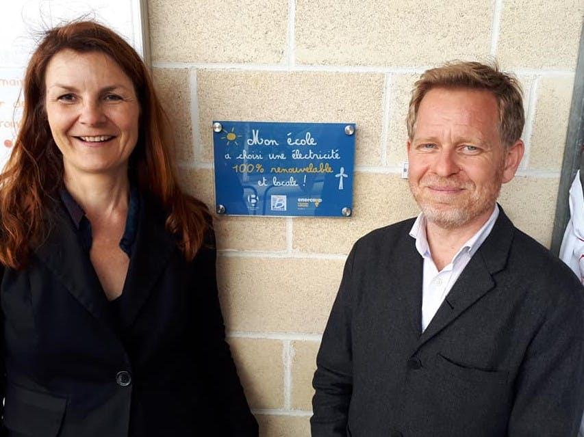 Karine Oudot, présidente d'Enercoop Nouvelle-Aquitaine et Clément Rossignol Puech, Maire de Bègles