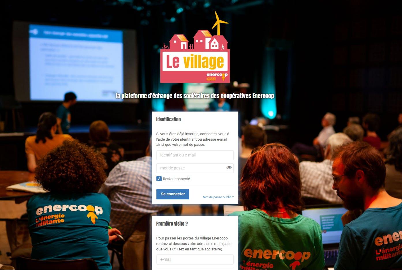 Ecran d'un de la plateforme La village