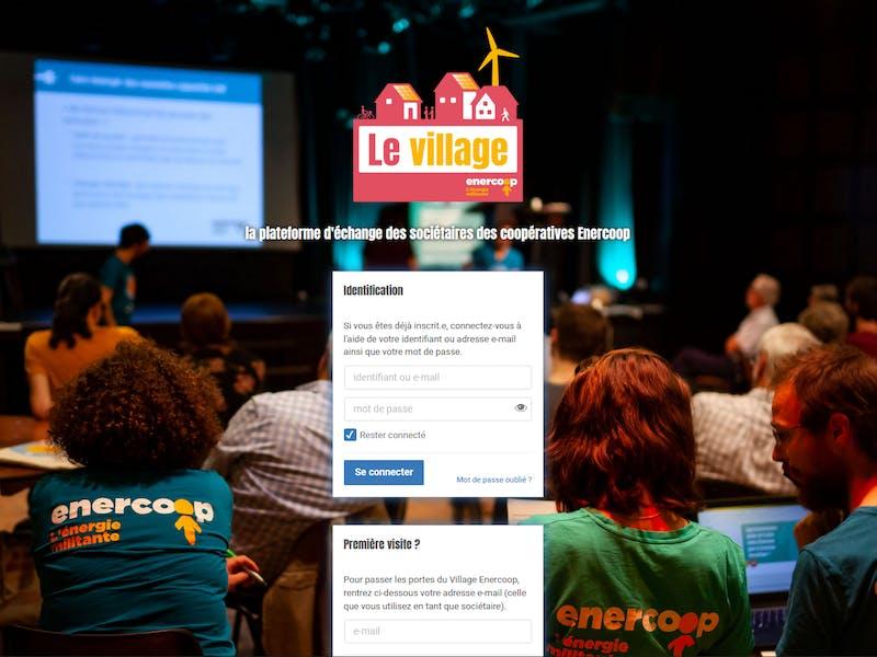 page d'accueil de la plateforme le village