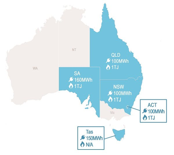 Map of Australia with state and territory electricity usage thresholds identified