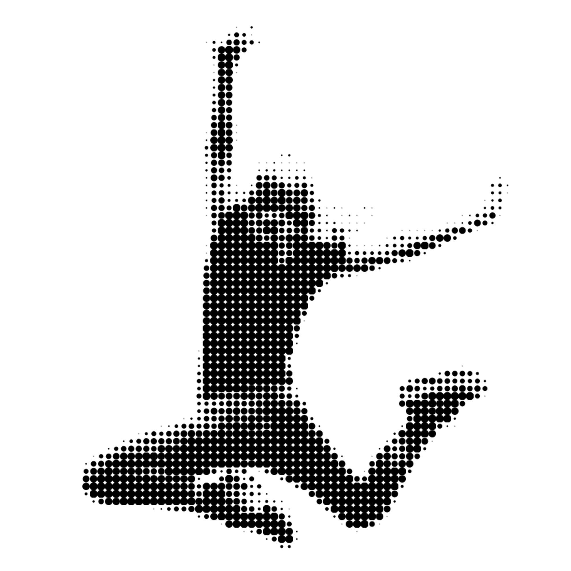 Woman jumping with a halftone filter