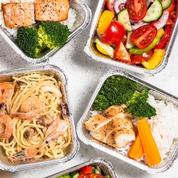 delivery food box filled with pasta and chicken