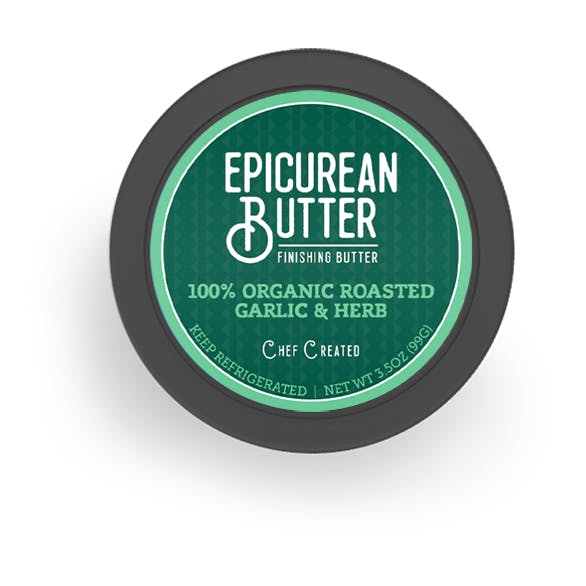 Organic Roasted Garlic & Herb Butter top of tub view