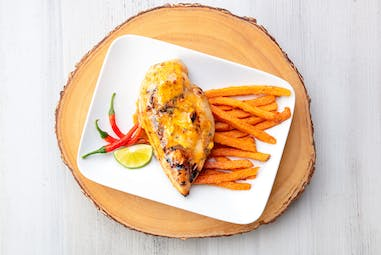 Chicken with Chili Lime flavored butter and sweet potato fries