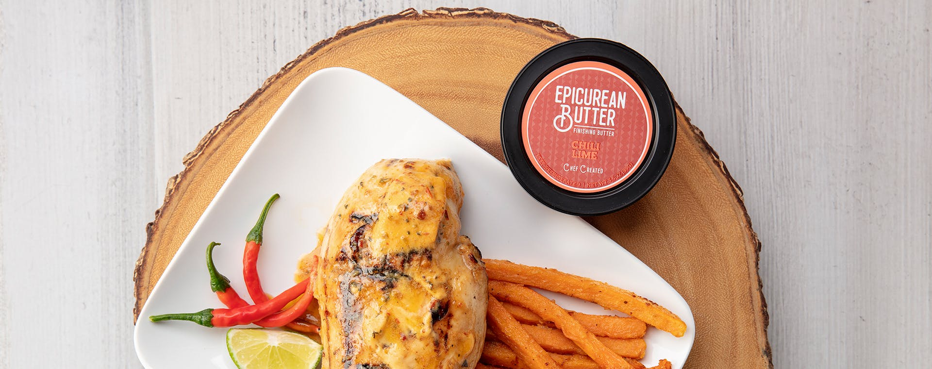 Chicken Breasts with Epicurean Chili Lime flavored butter
