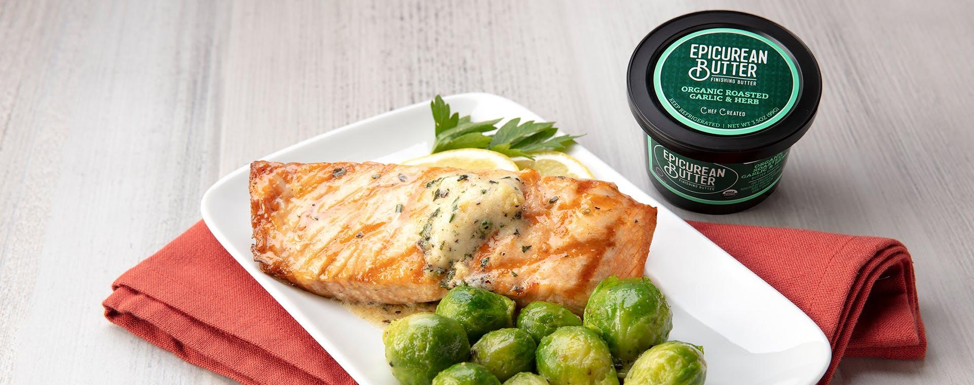 Salmon With 100% Organic Garlic & Herb Butter