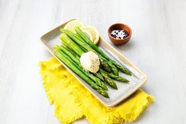 Asparagus topped with Sea Salt & Black Pepper flavored butter