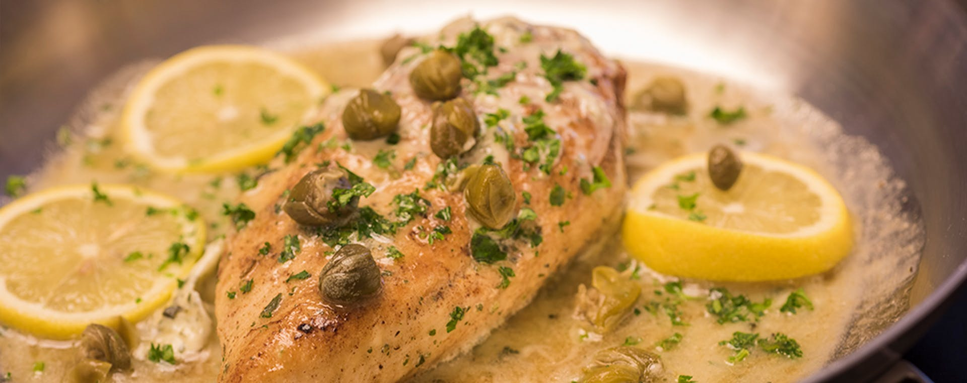Chicken Piccata with Lemon Garlic Herb flavored butter