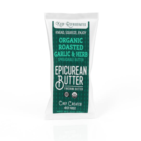 Organic Roasted Garlic Herb Butter 1oz Squeeze Pack - front view