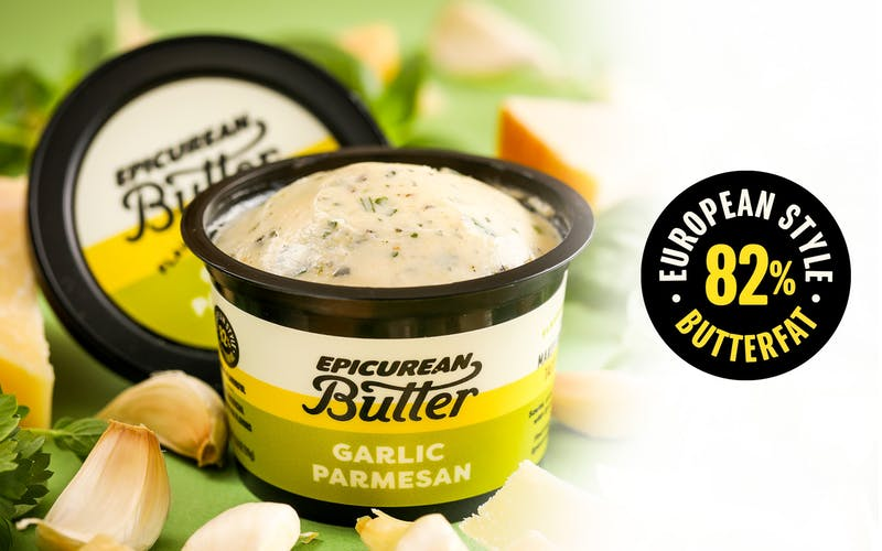 Epicurean Butter Garlic Parmesan Flavored Butter with ingredients and 82% butterfat icon.
