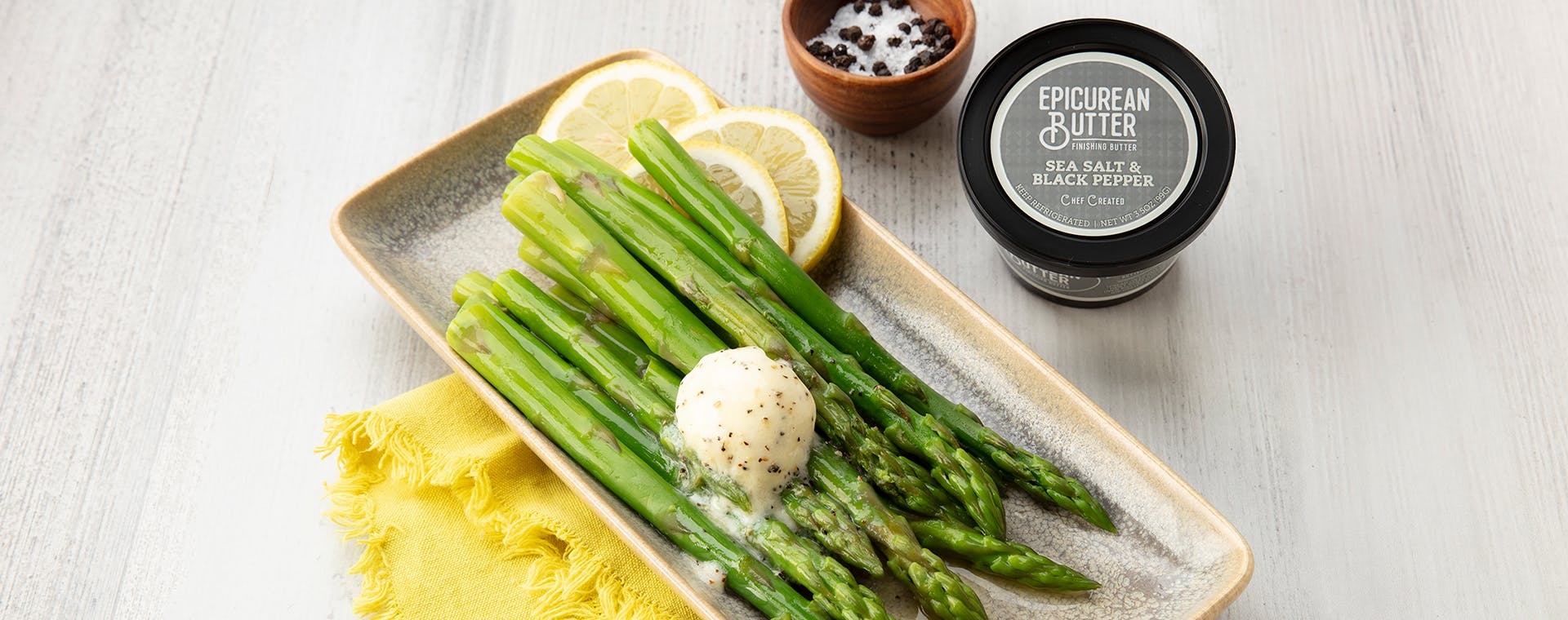 Asparagus With Sea Salt & Black Pepper flavored butter