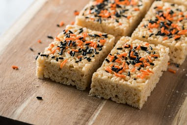 Rice crispy treats with halloween themed sprinkles.