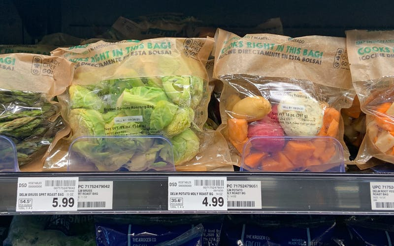 Fresh vegetable roasting bags with Epicurean Butter.