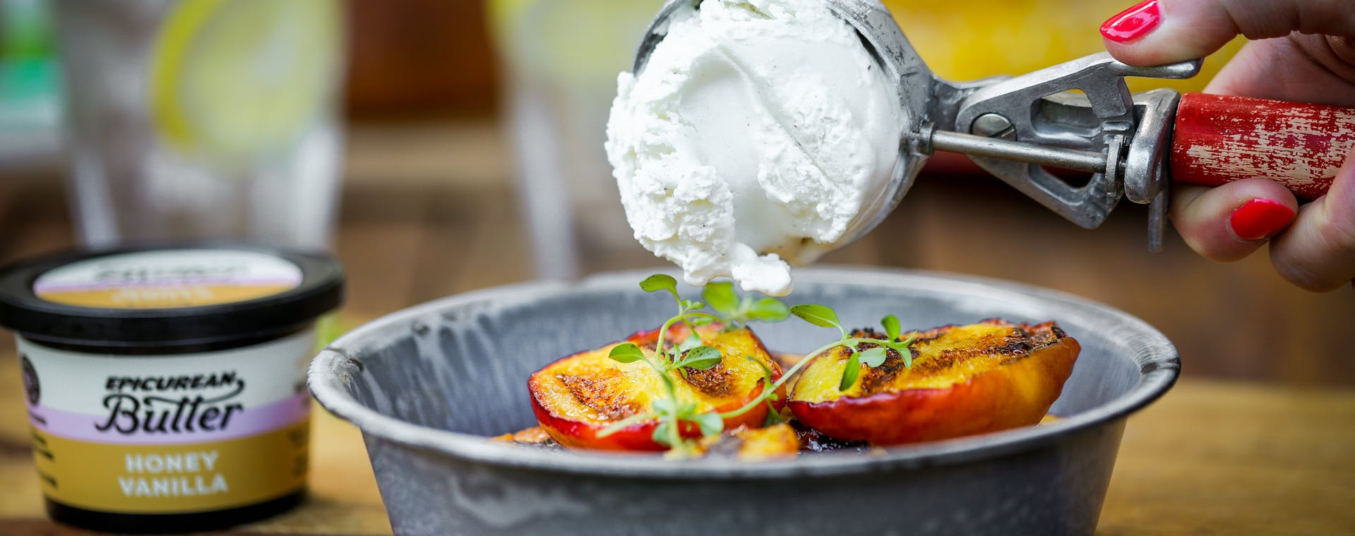 Grilled peaches with Epicurean Butter Honey Vanilla Flavored Butter