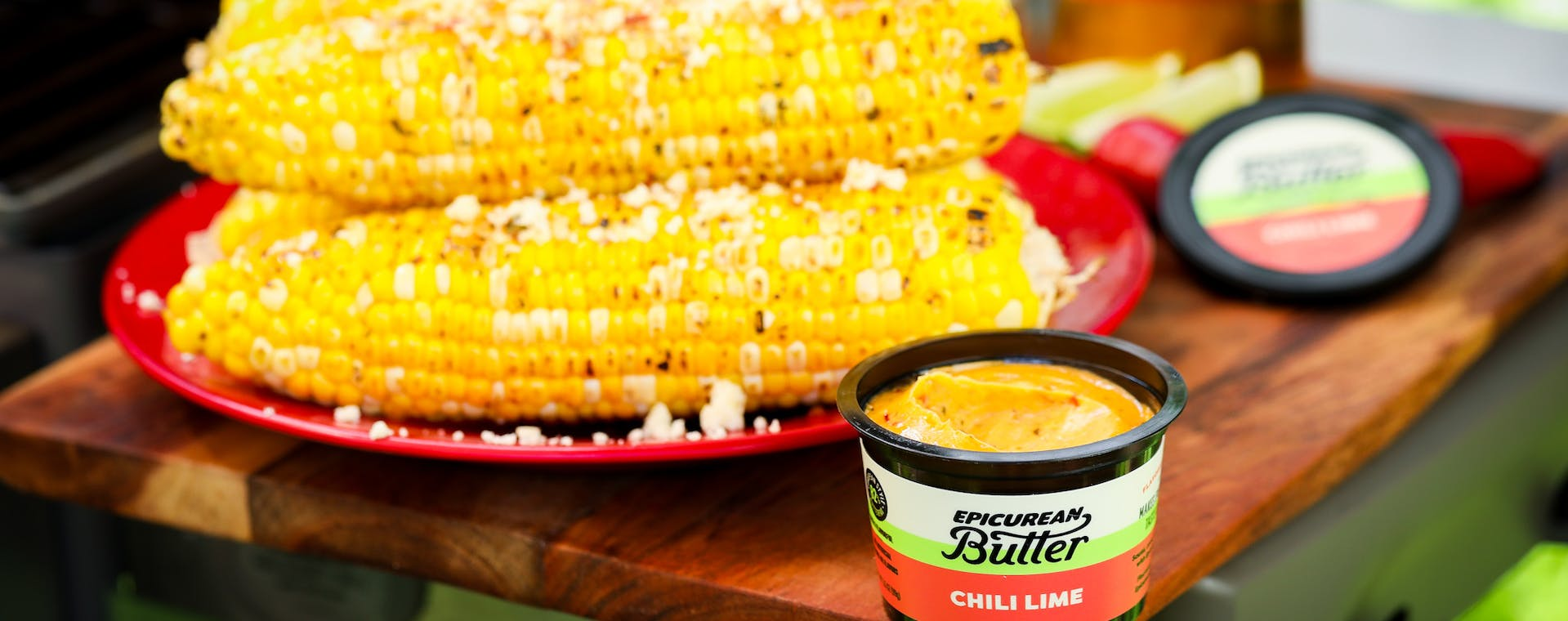 Street Corn with Epicurean Butter Chili Lime Flavored Butter