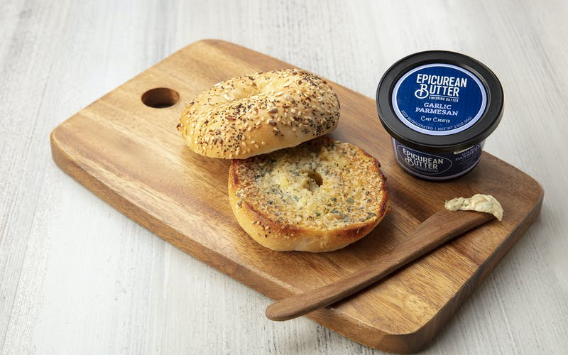Bagel with Epicurean Butter's Garlic Parmesan