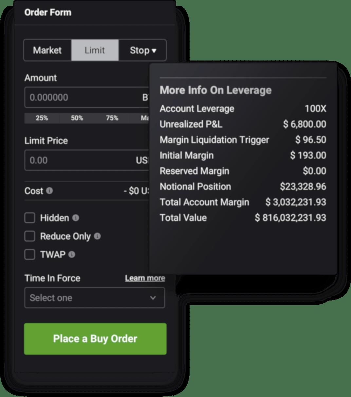Perpetual Futures order form on EQONEX