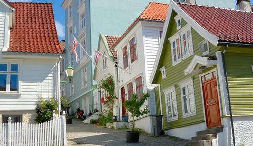 Gamla trähus i Bergen i Norge.