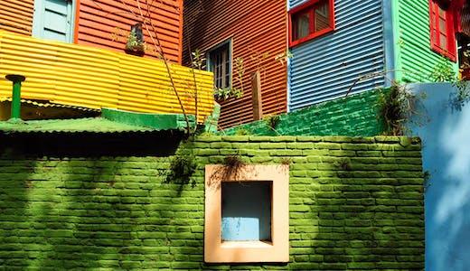 Färgglada hus i La Boca i Buenos Aires, Argentina.