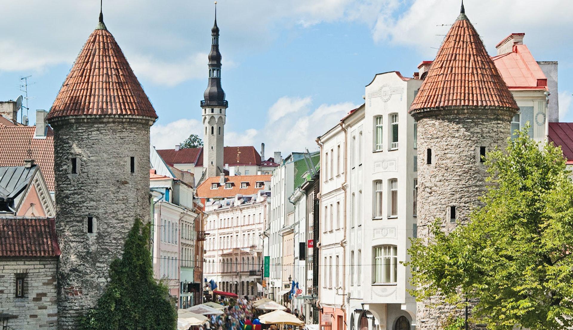 Vackra byggnader i Tallin centrum.