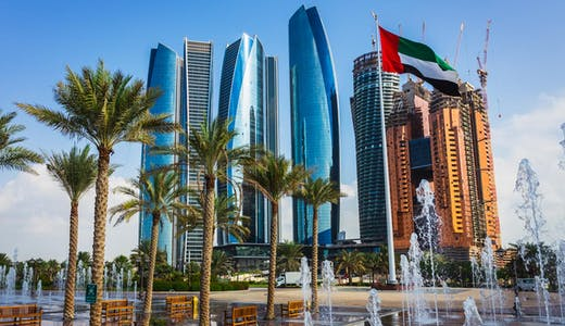 Delar av stadskärnan i Abu Dhabi.