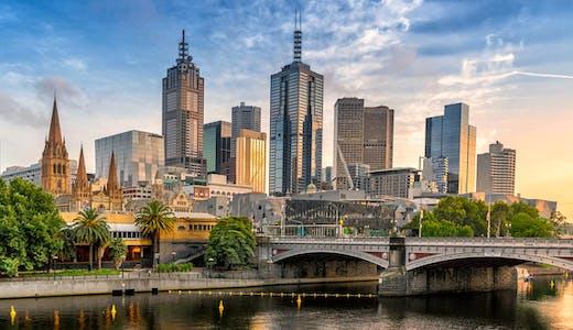 Solnedgång i Melbourne i Australien.