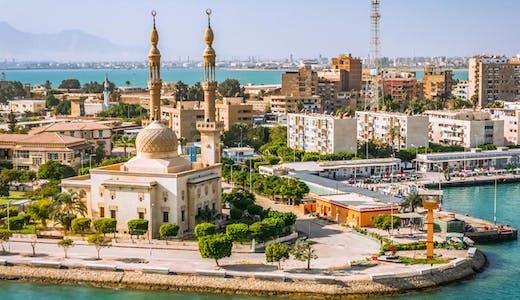 Hamnstaden Port Said vid Suezkanalens mynning i Medelhavet.