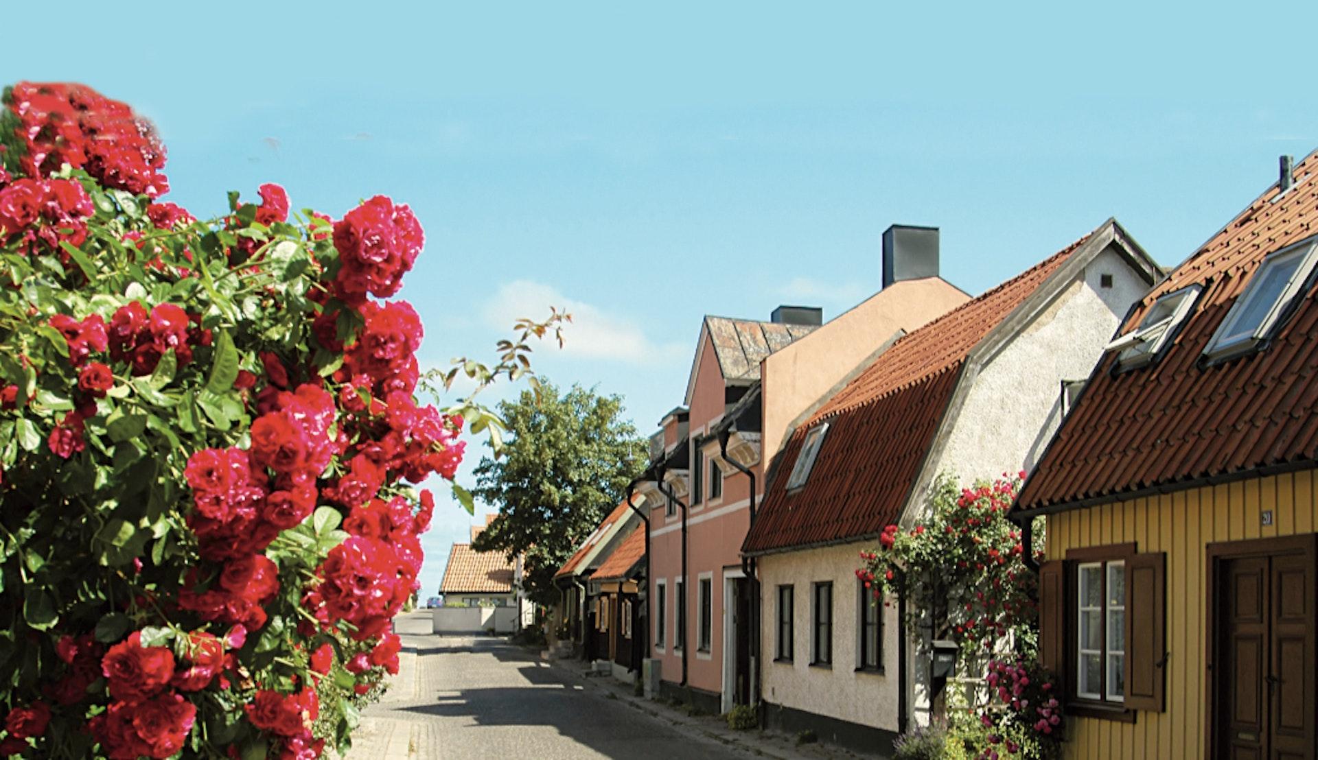 Mysig kullerstensgata i Visby på Gotland.