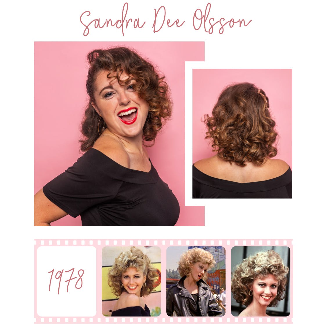 Image of esalon employee dressed as sandra dee with light brunette hair color and original image of actress below from 1978 film grease