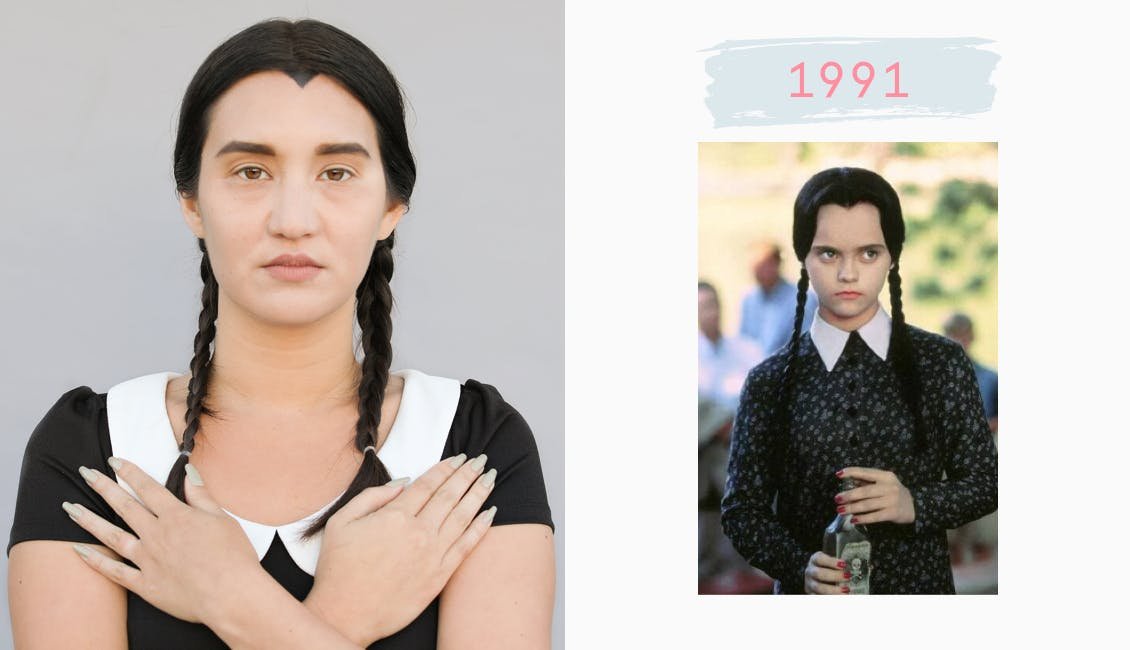 Image of esalon employee dressed as wednesday adams with her arms crossed over her check and black hair color on left image on right christina ricci as wednesday adams from 1991