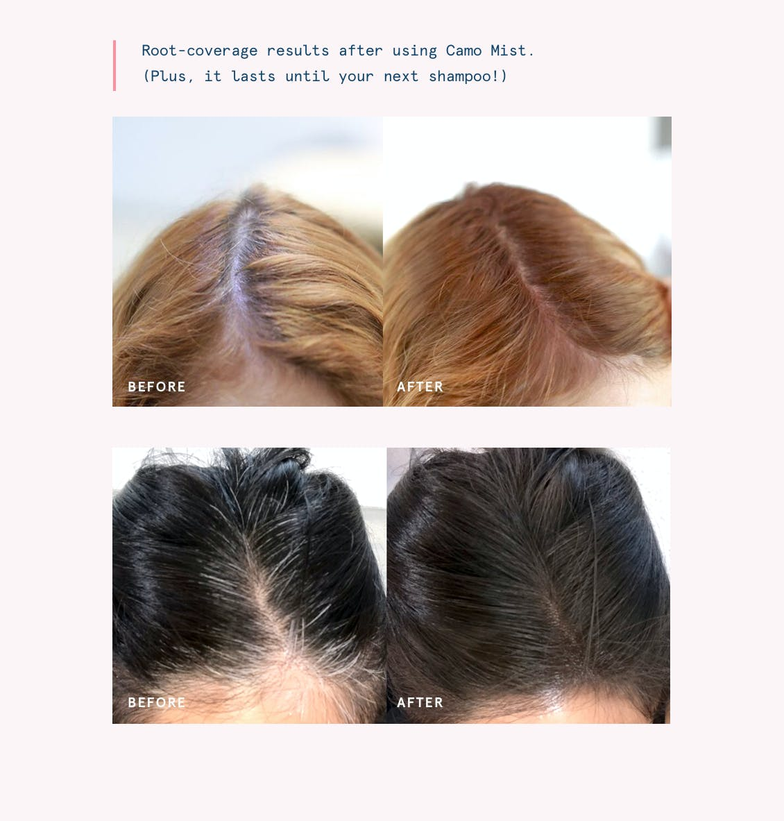 Image of two before and after examples of eSalon clients who have used Camo Mist to instantly cover their grays and comes in 8 shades