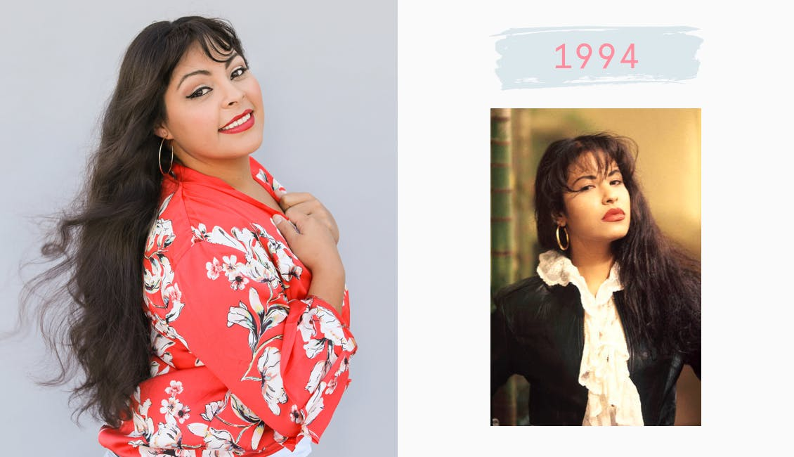 Image of esalon employee dressed as Selena Quintanilla in a red flowered shirt and long dark hair color with bangs