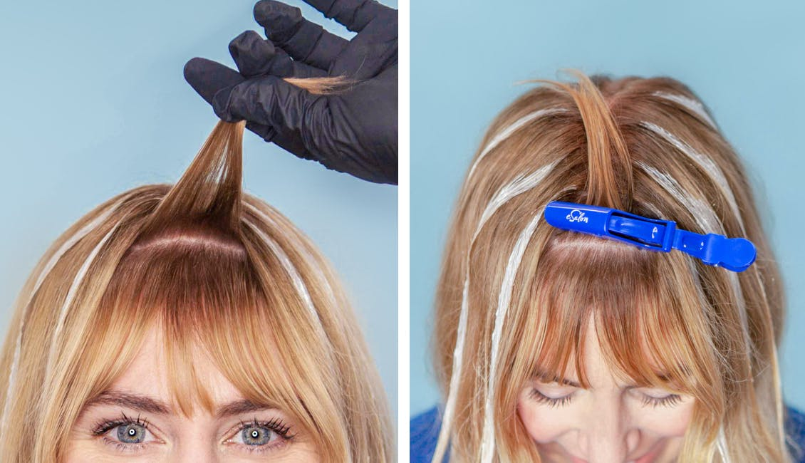 Image of esalon colorist sectioning her bangs with an esalon hair clip to give bangs a more natural look