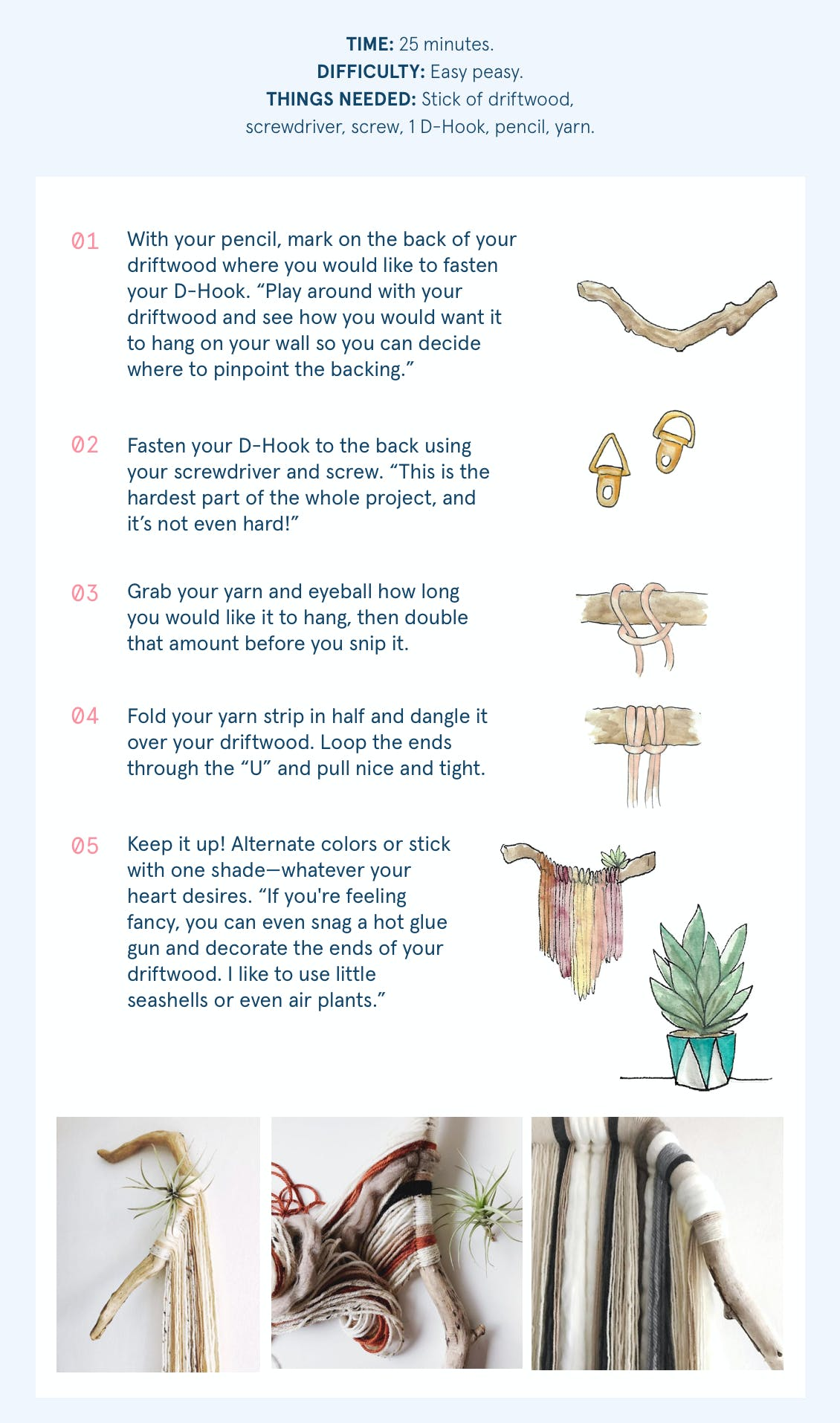 Image of infographic with 5 steps on how to create driftwood art at home while you color with esalon's custom hair color