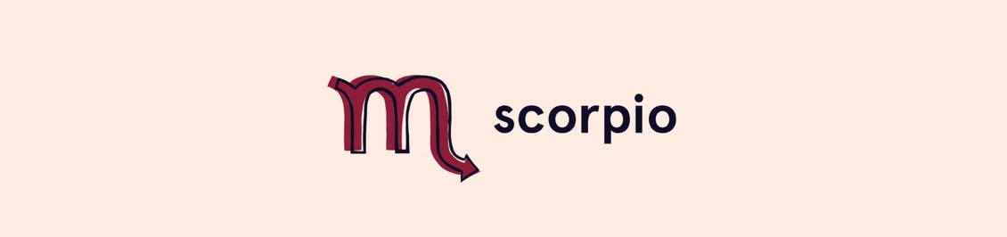 Image of creative symbol for zodiac sign for scorpio as a header for esalon's color horoscope featured in color mastery