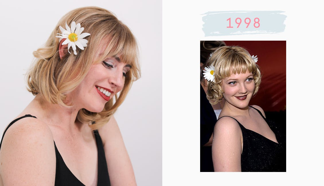 Image of esalon employee dressed as drew barrymore on the left wearing black cami and blonde short hair color and on right drew barrymore in same outfit from 1998