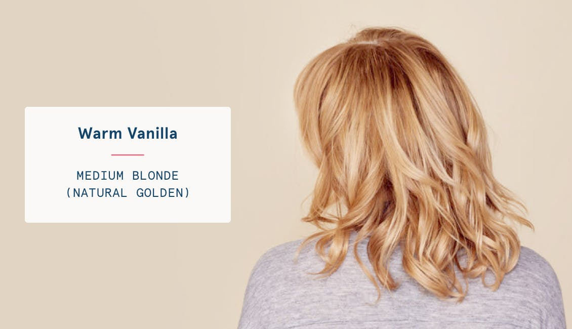 Image of woman's back of head with warm vanilla custom hair color