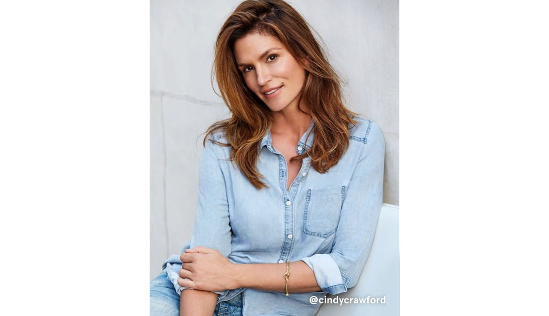 Cindy Crawford who covers her grays with hair color.
