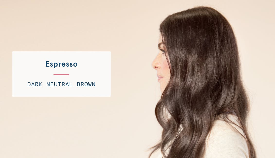 Image of woman's profile with long hair in custom espresso hair color