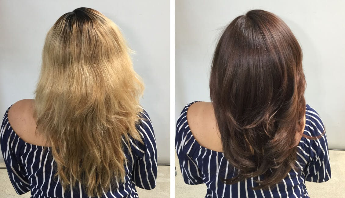 Image of woman before on the left with uneven and too-light hair color with dark roots. On the right after photo of same woman who had a color-fill to even out her color and roots