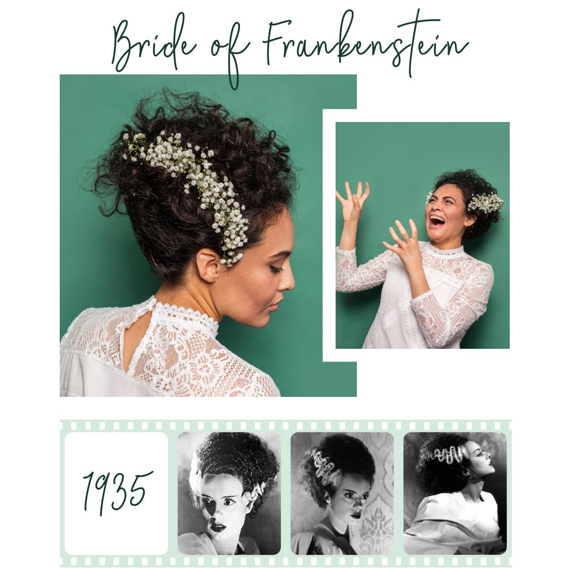 Image of eSalon employee as bride of Frankenstein costume with long curly black hair color as the focus with image below of original look from 1935