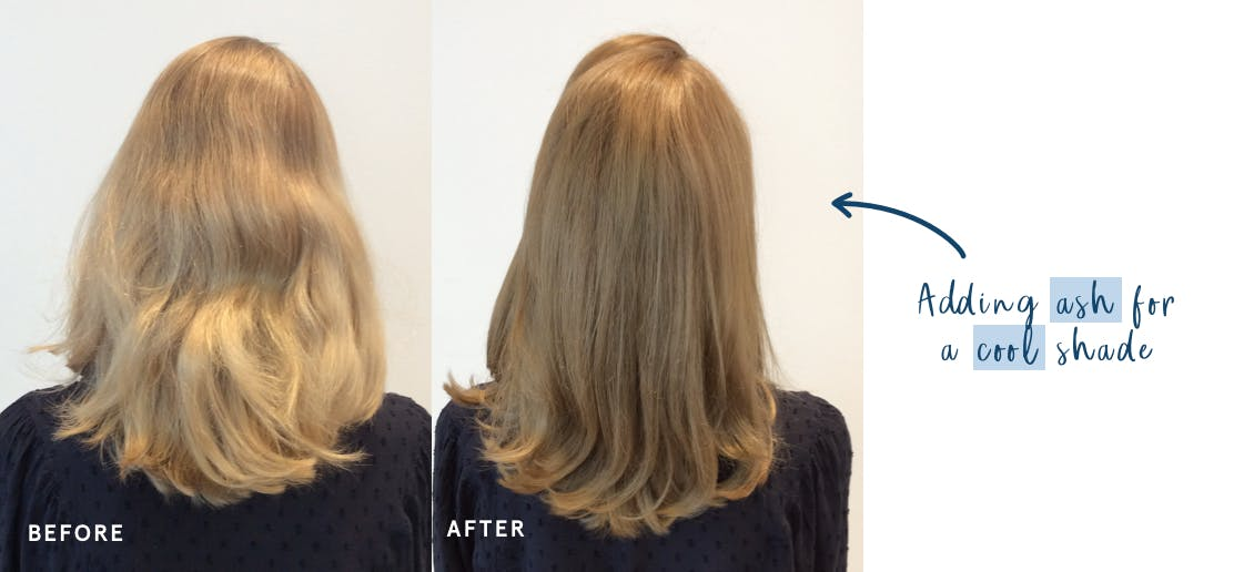Image of woman before on the left with brassy hair and image of woman on right after she's added ash tones to her hair to make it more cool with eSalon hair color