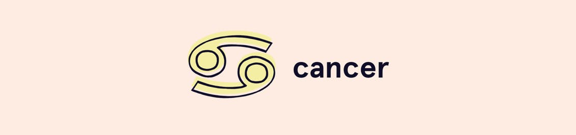 Image of cancer zodiac symbol of yin and yang with cancer spelled out