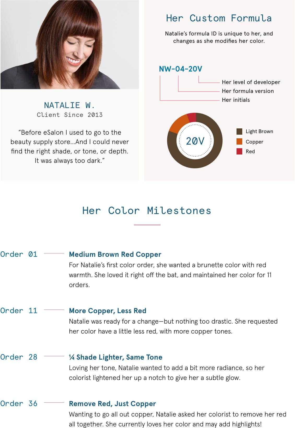 Image of esalon client Natalie's color wheel with information about her custom home hair color