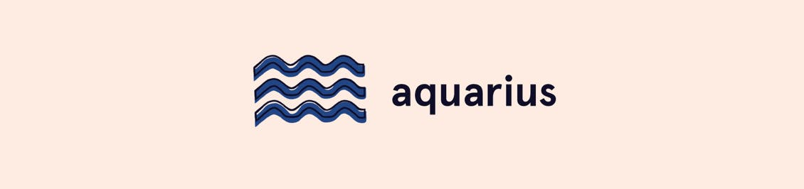 Image of aquarius zodiac symbol as header in color horoscope section featured in color mastery
