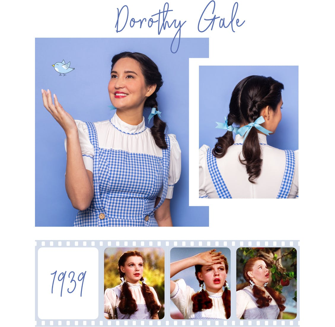 Image of esalon employee as dorothy gale from the wizard of oz with dark brunette hair color and pigtails with collage of original actress image below from 1939